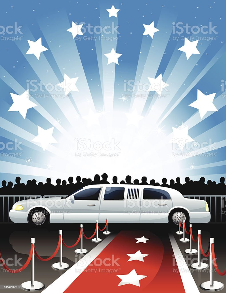Illustration of limousine and red carpet royalty-free stock vector art