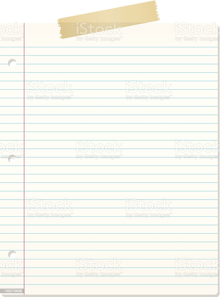 Illustration of lined notebook paper with masking tape royalty-free stock vector art