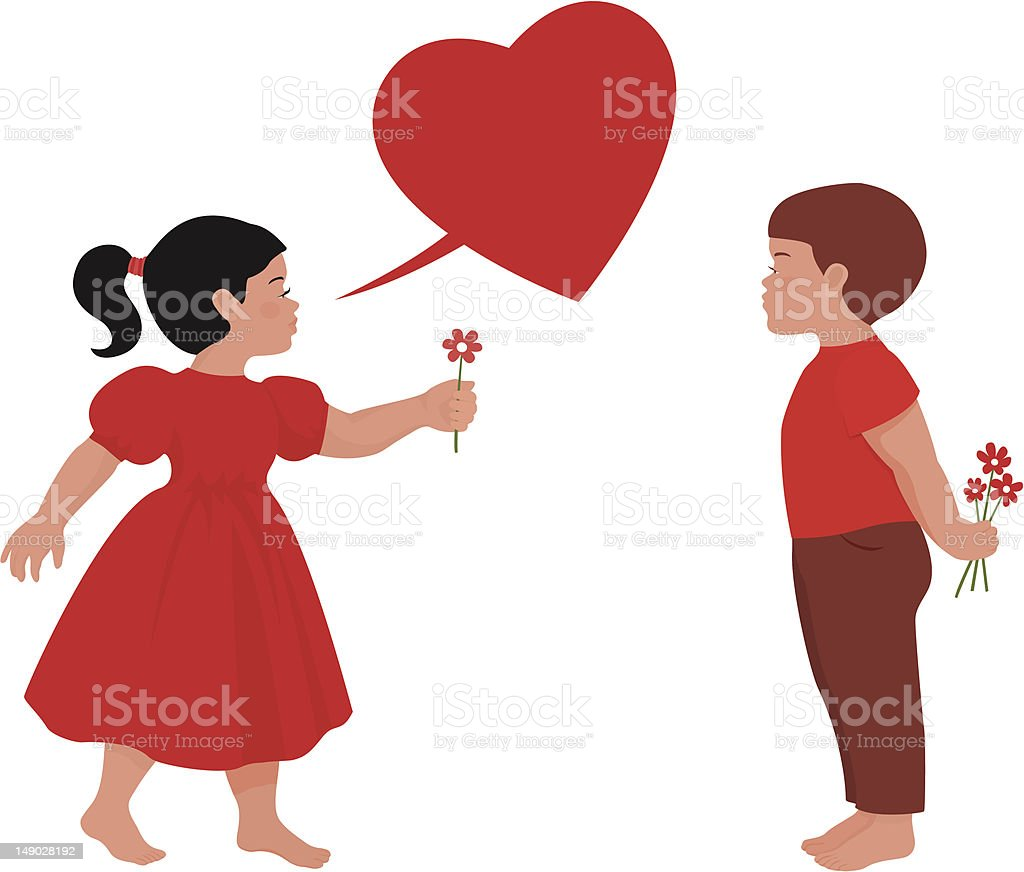 Illustration of little Boy and Girl in puppy love vector art illustration