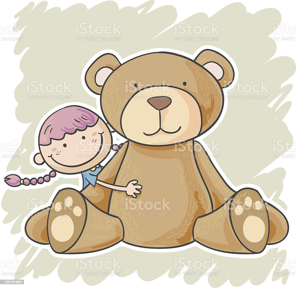 Illustration of little girl with large teddy bear vector art illustration