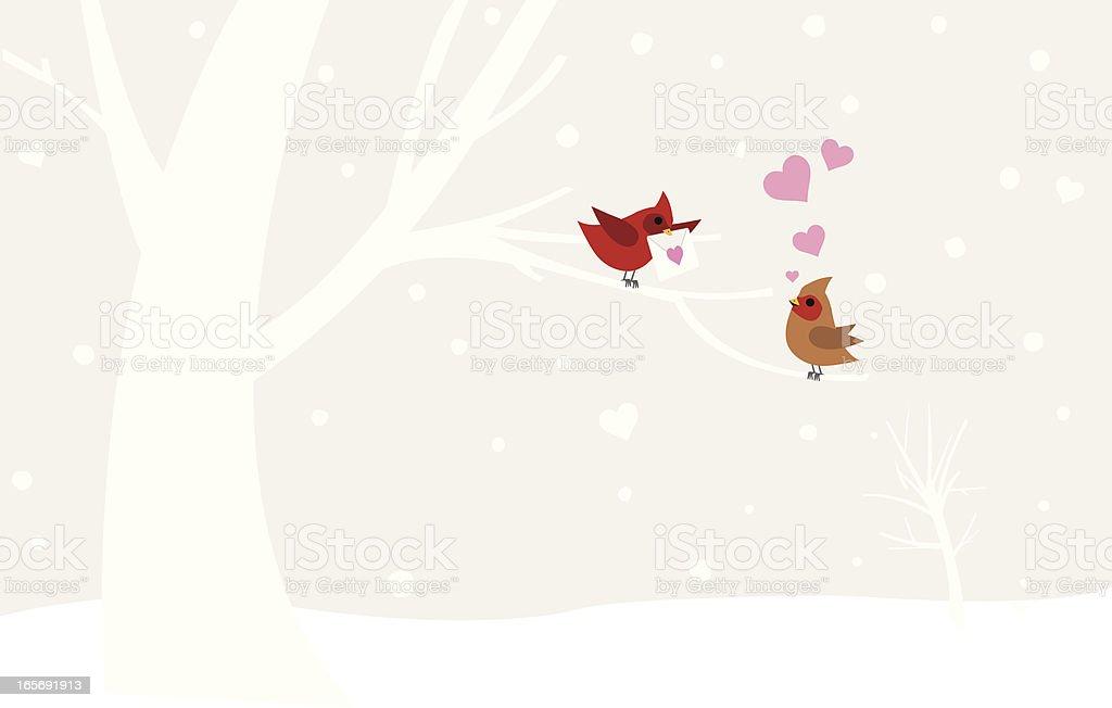 Illustration of love birds in winter royalty-free stock vector art