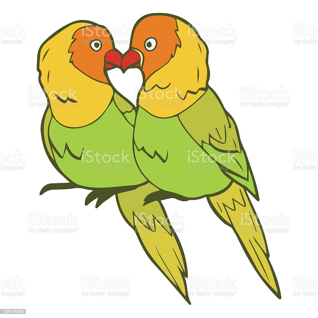 Illustration of lovebirds couple vector art illustration