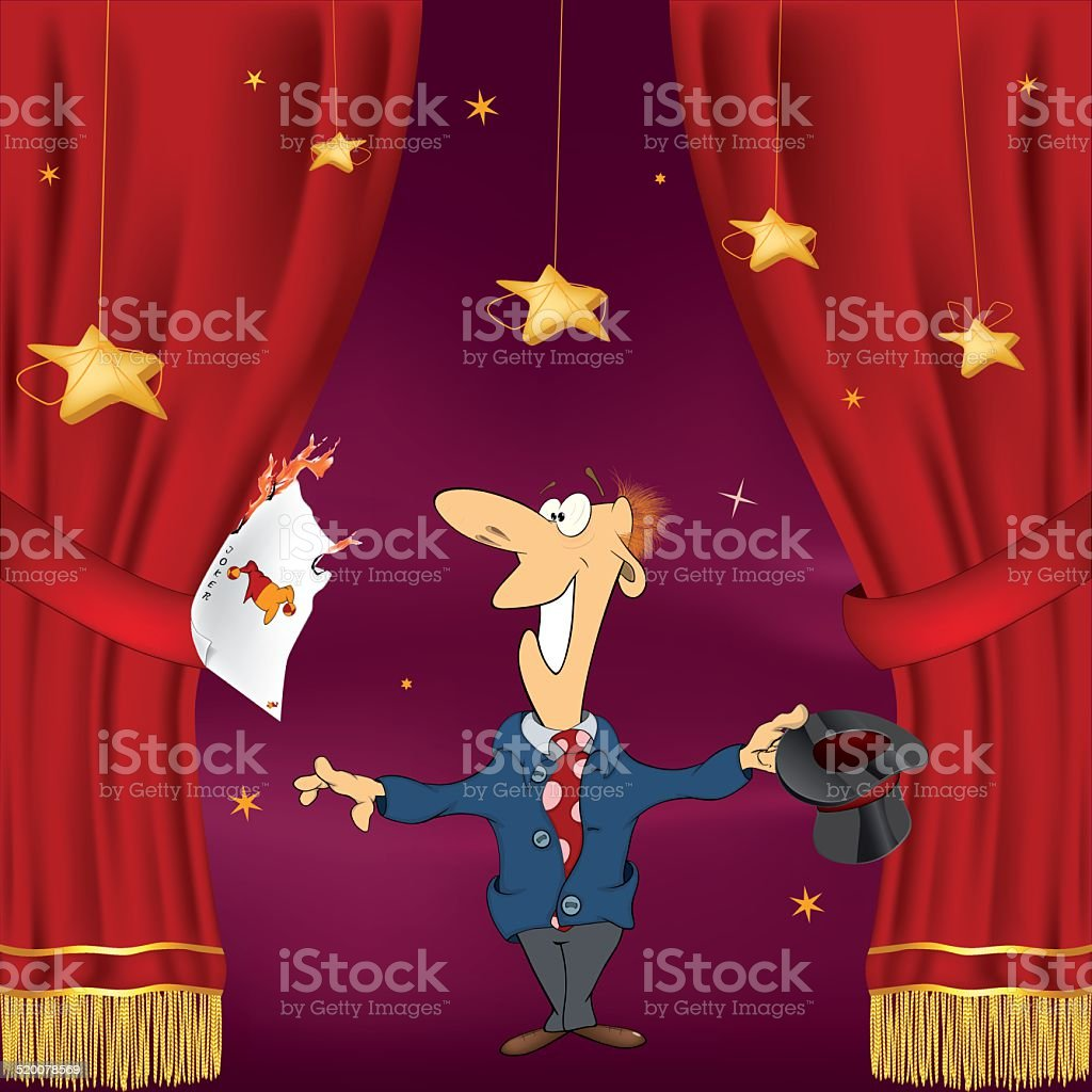 Illustration of  magician with  playing cards vector art illustration