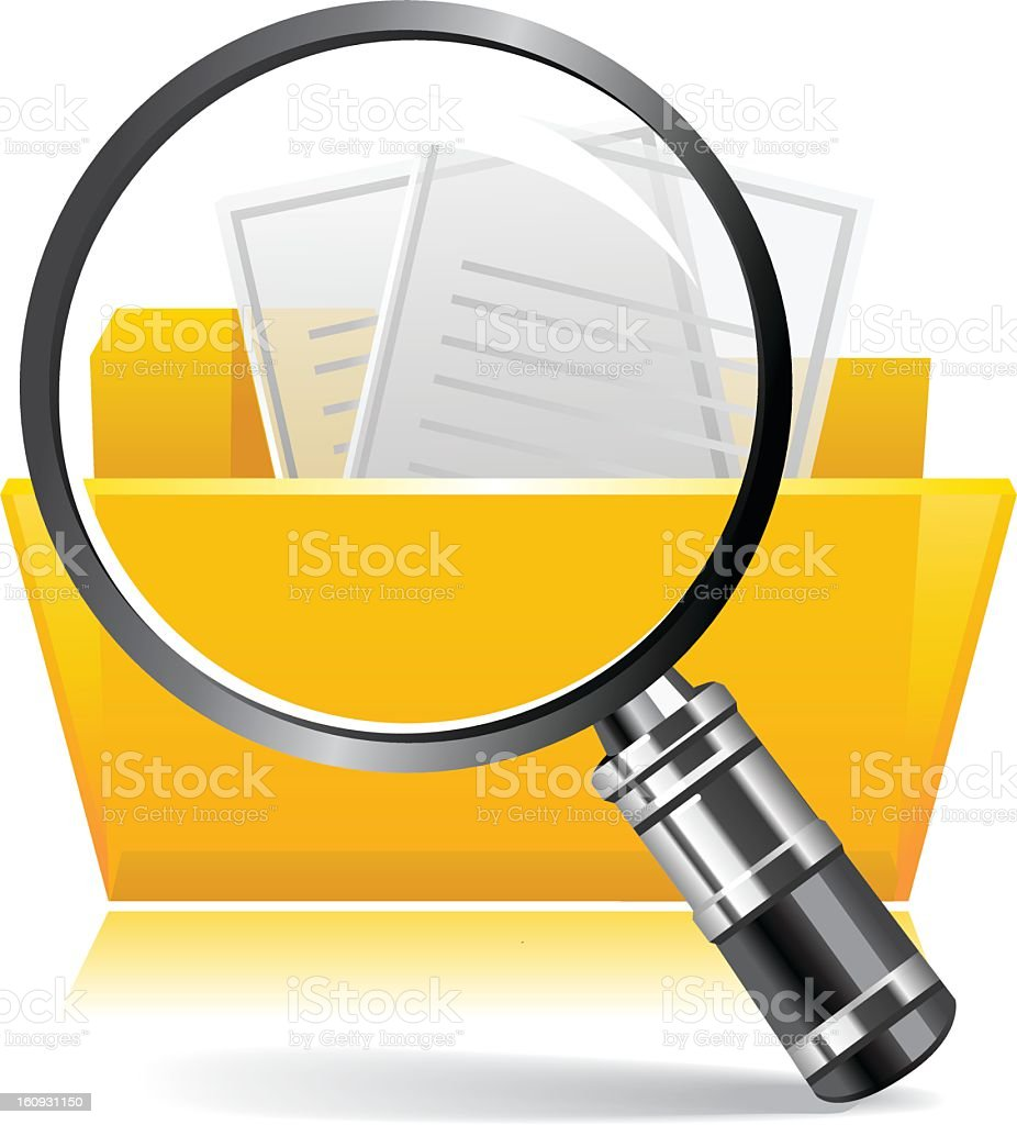 Illustration of magnifying glass and yellow search folder stock photo