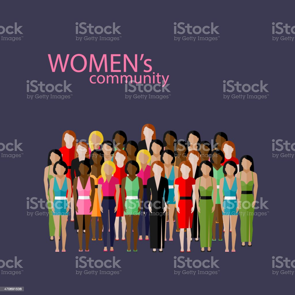 illustration of male community with  group of girls and women vector art illustration