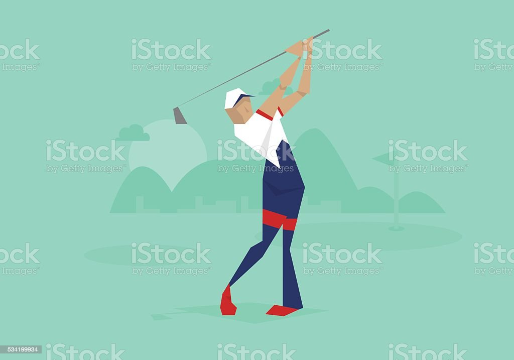 Illustration Of Male Golfer Competing In Event vector art illustration