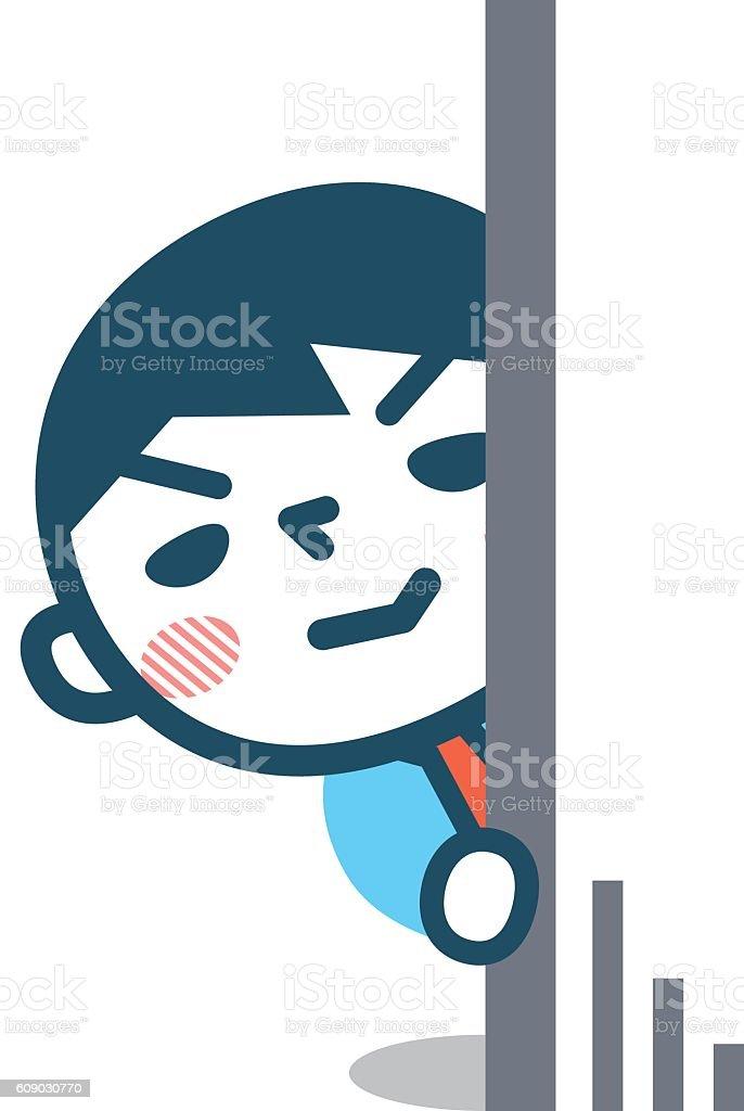 Illustration of male stalker vector art illustration