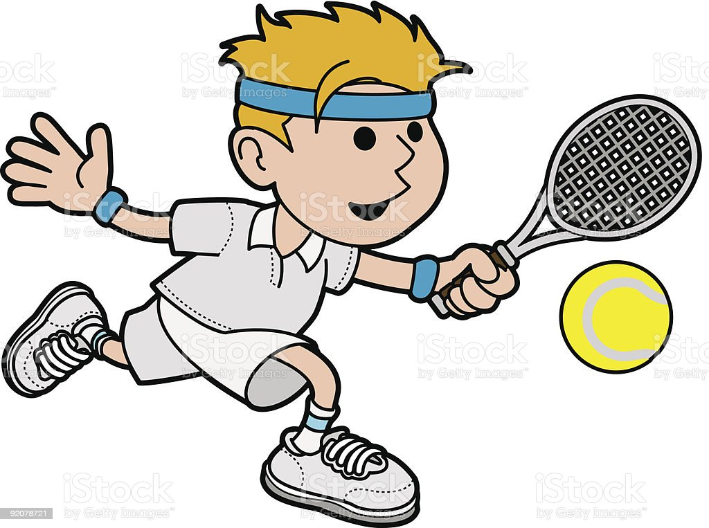 Illustration of male tennis player vector art illustration
