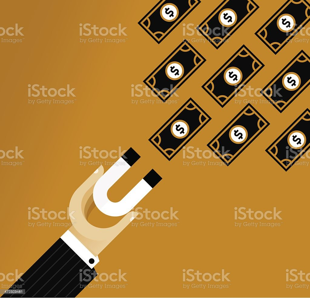 Illustration of man holding a magnet to attract dollar bills royalty-free stock vector art
