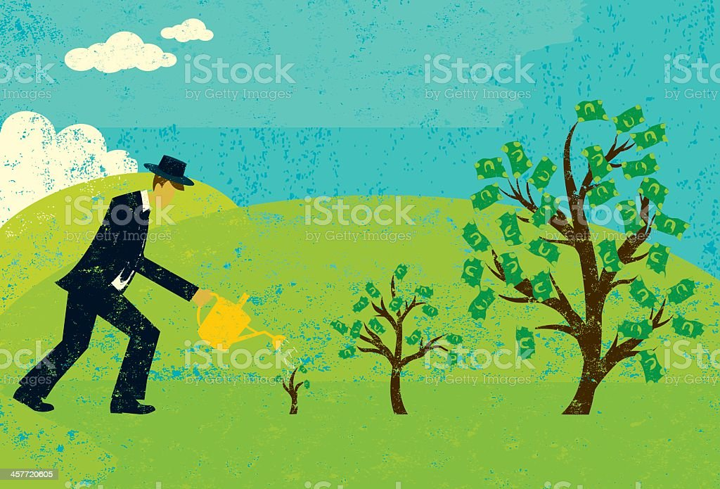 Illustration of man in suit watering money trees royalty-free stock vector art