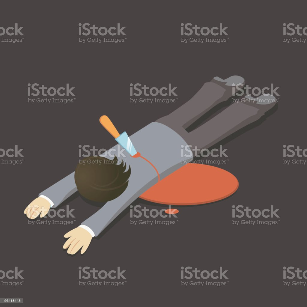 Illustration of man lying face down with knife in his back vector art illustration