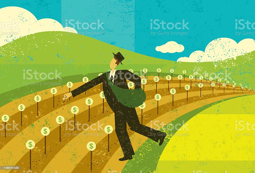Illustration of man planting seed for financial growth royalty-free stock vector art