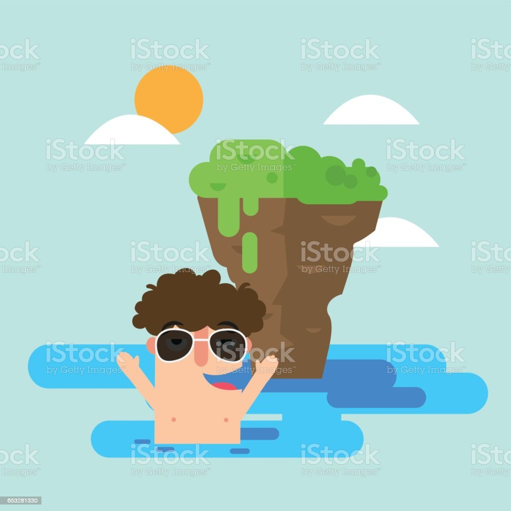 Illustration of man swimming in the sea during summer vector art illustration