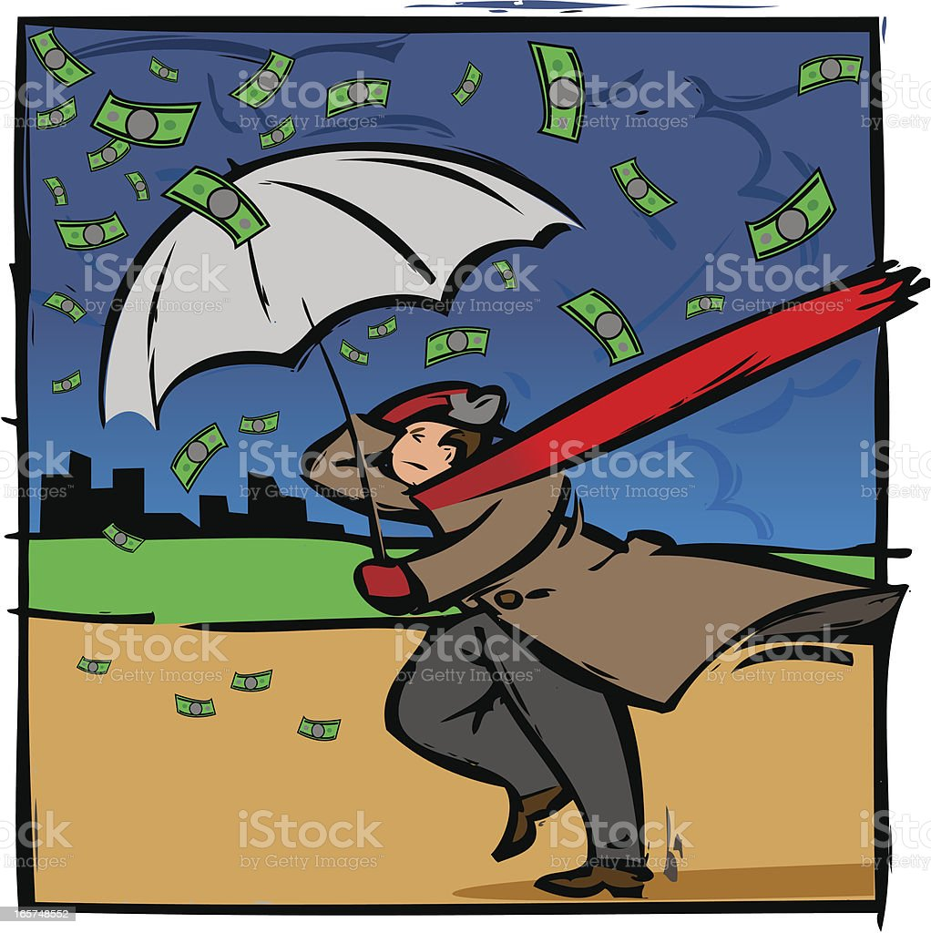 Illustration of Man with umbrella in storm and raining money. vector art illustration