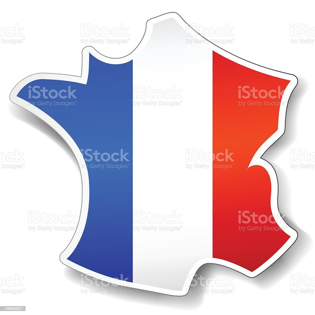 Illustration of map of France with France flag on white vector art illustration