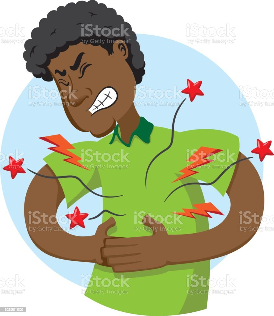 Illustration of mascot Ben Afrodescendant, with symptom of pain in the region of the stomach, belly. Ideal for medical and educational materials vector art illustration