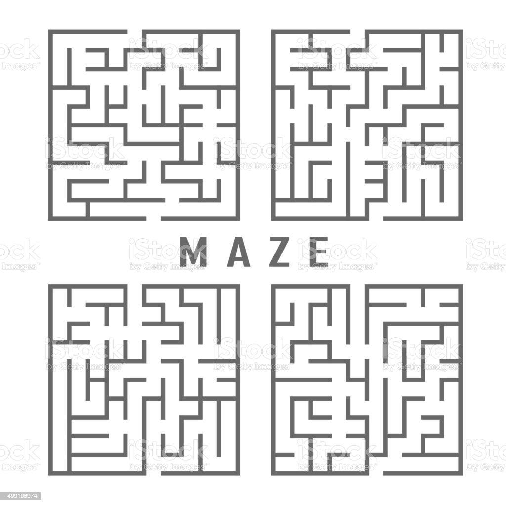 illustration of maze set vector art illustration