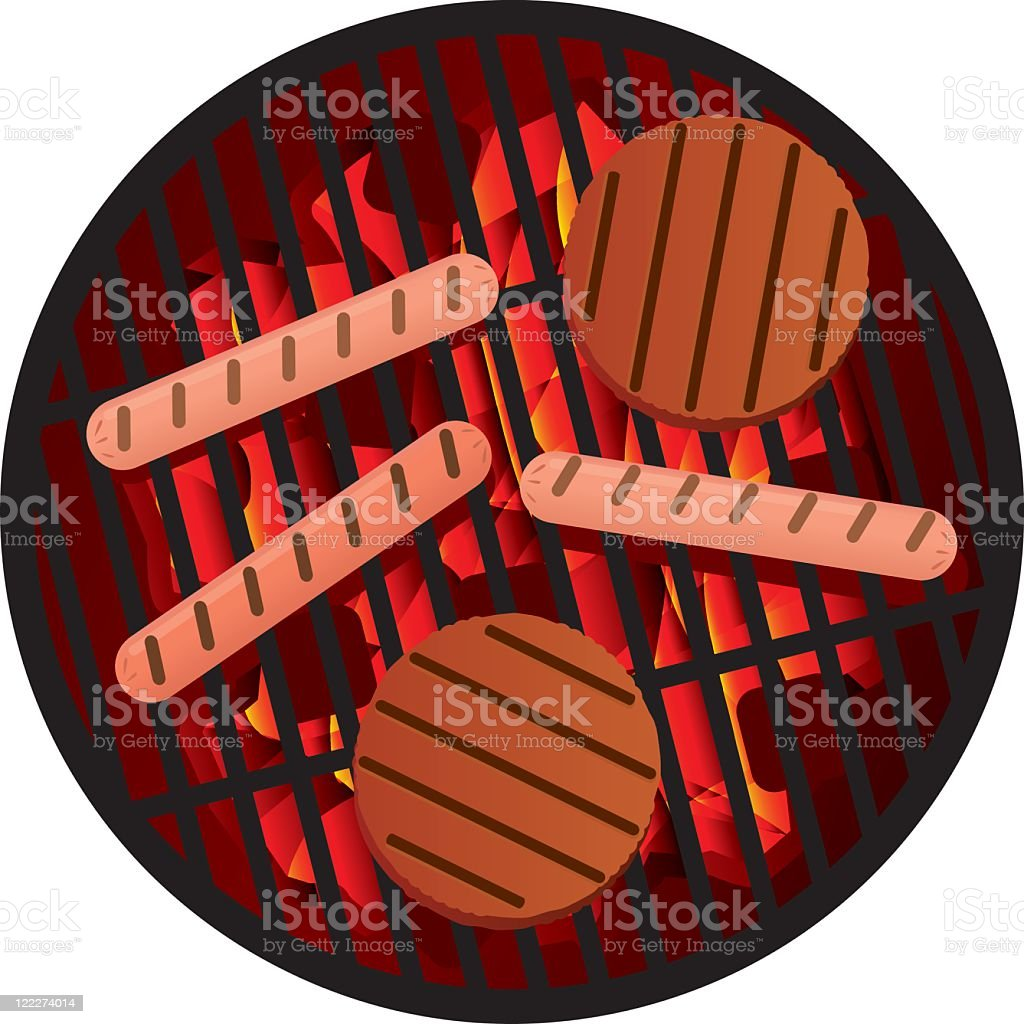 Illustration of meat on BBQ grill royalty-free stock vector art