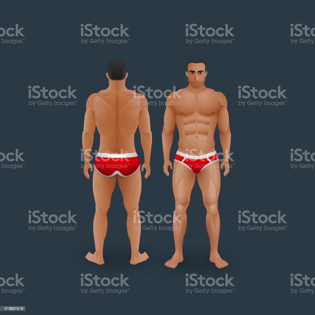 illustration of men in briefs vector art illustration