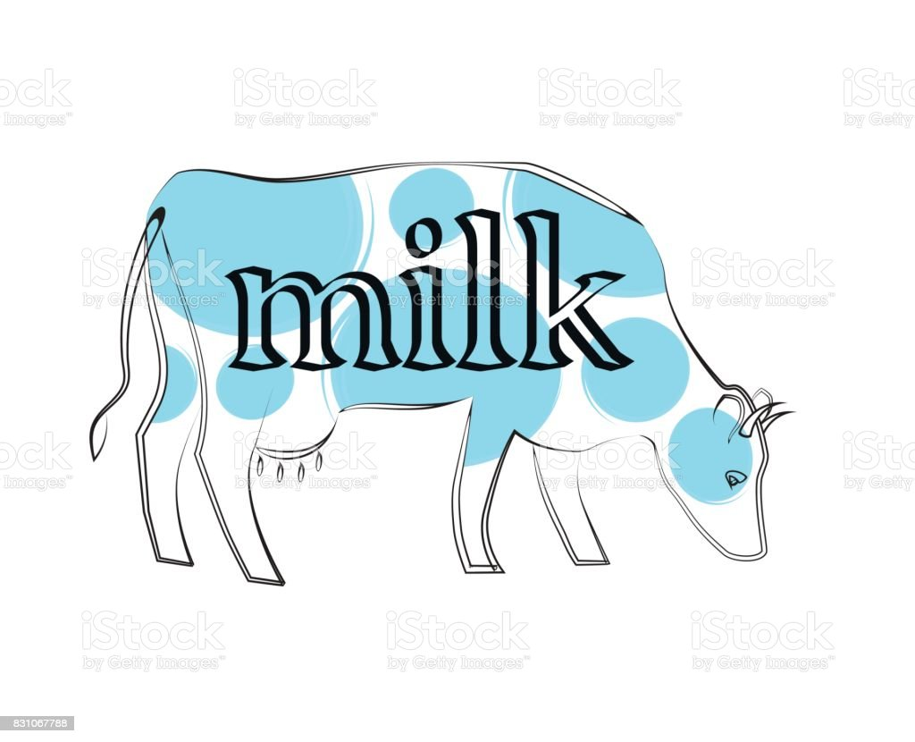 illustration of milk per cow vector art illustration