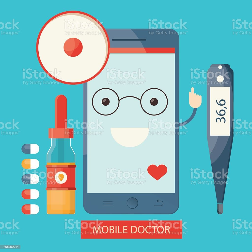 illustration of Mobile health care vector art illustration
