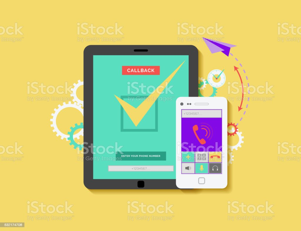 illustration of mobile phone and tablet with application for ordering vector art illustration