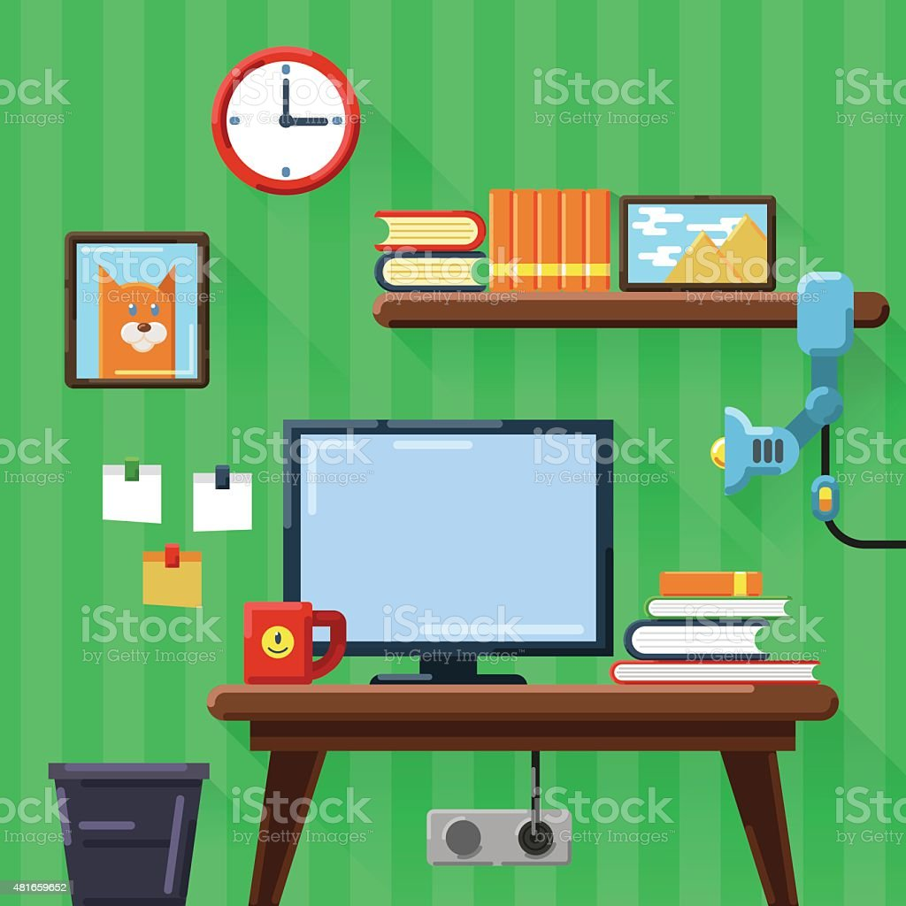 Illustration of modern workplace in room. Flat style. vector art illustration