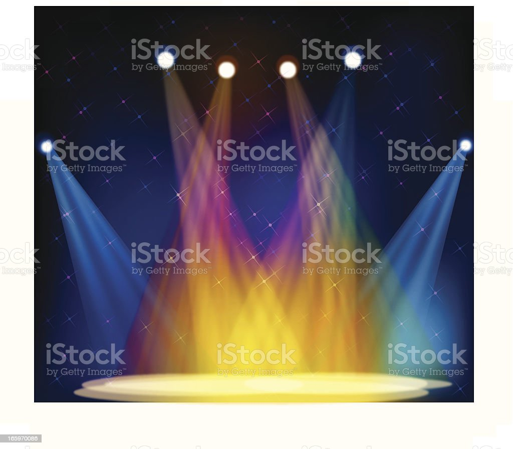 Illustration of multicolored stage lights on an empty stage vector art illustration