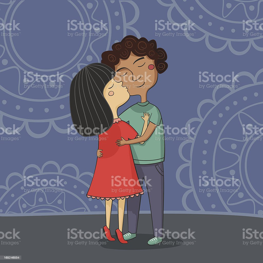 Illustration of multicultural boy and girl kissing on the cheek vector art illustration