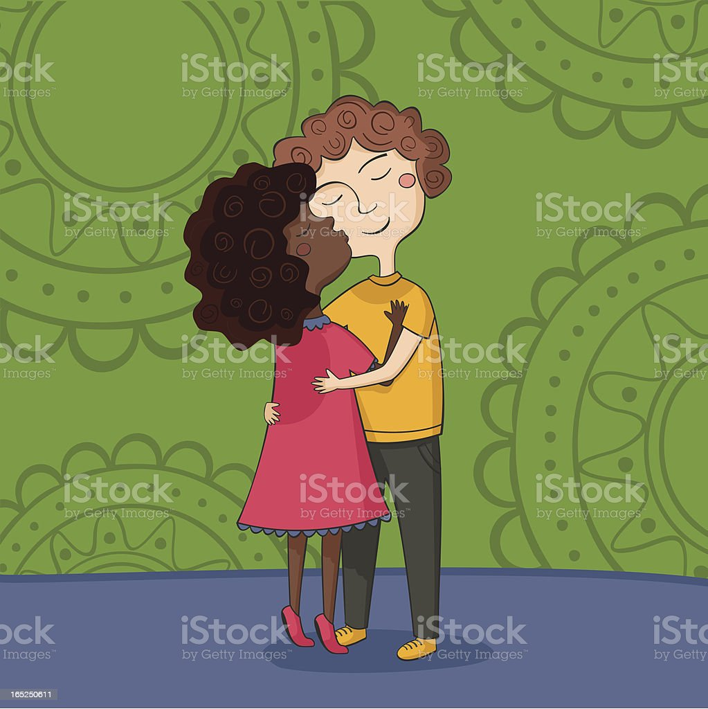 Illustration of multicultural boy and girl kissing on the cheek royalty-free stock vector art