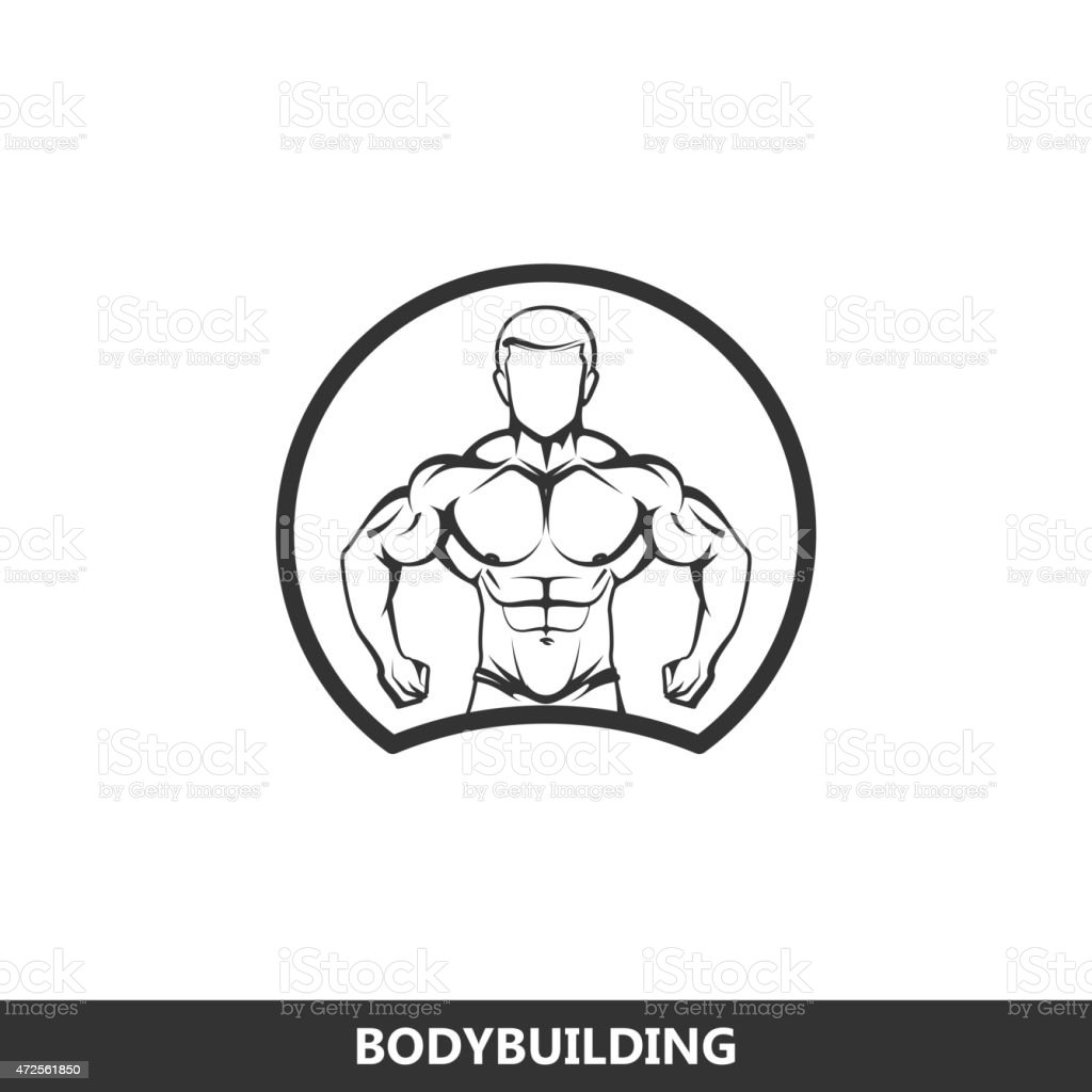 illustration of muscled man body silhouette. fitness or bodybuilding concept vector art illustration