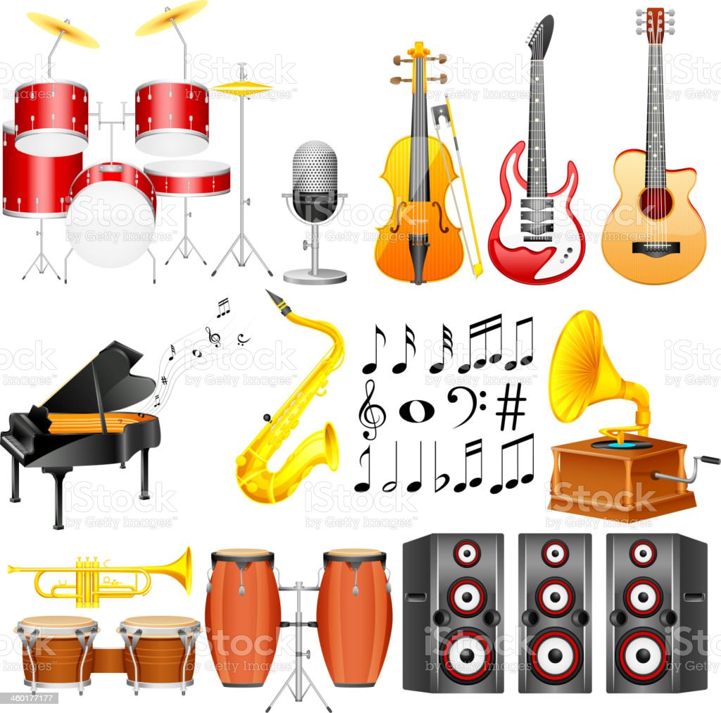 Illustration of music instrument icons on white background vector art illustration