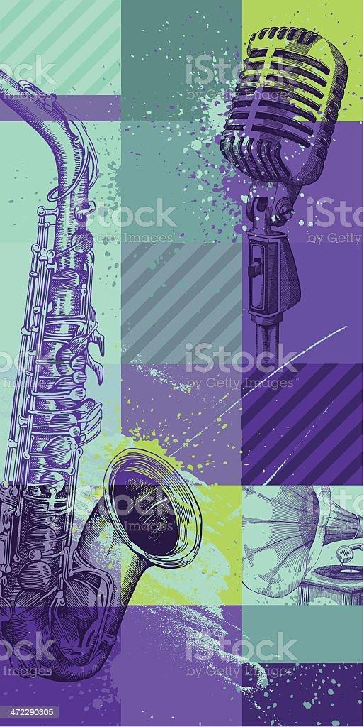 A illustration of musical instruments vector art illustration