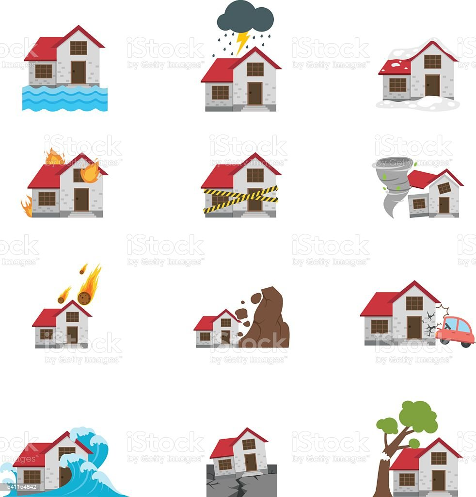 Illustration of natural disaster icon vector art illustration