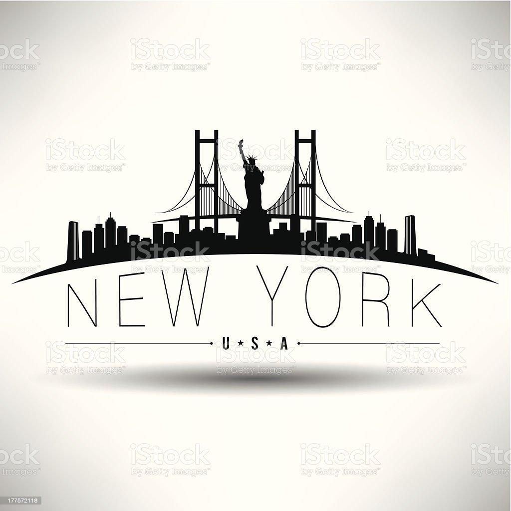 Illustration of New York City with Brooklyn Bridge vector art illustration