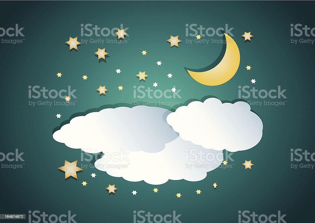 Illustration of night clouds with moon and stars royalty-free stock vector art