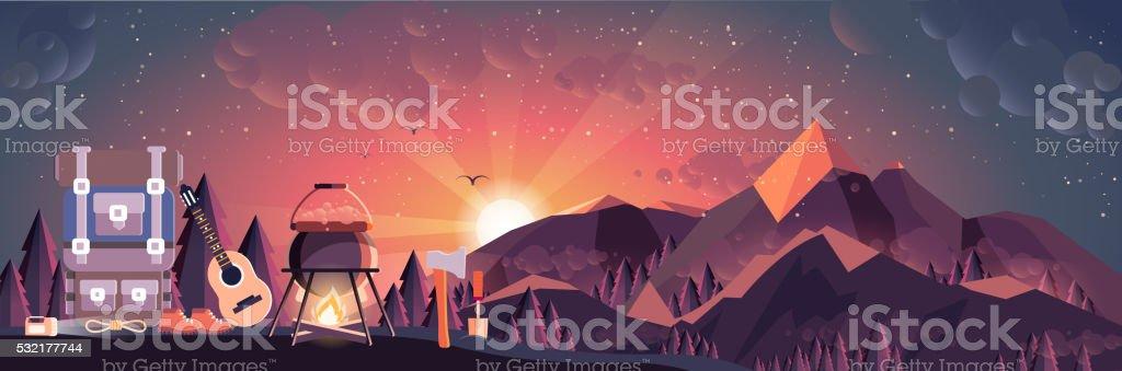 illustration of night landscape, mountains, sunset, travel, nature, pot, fire vector art illustration