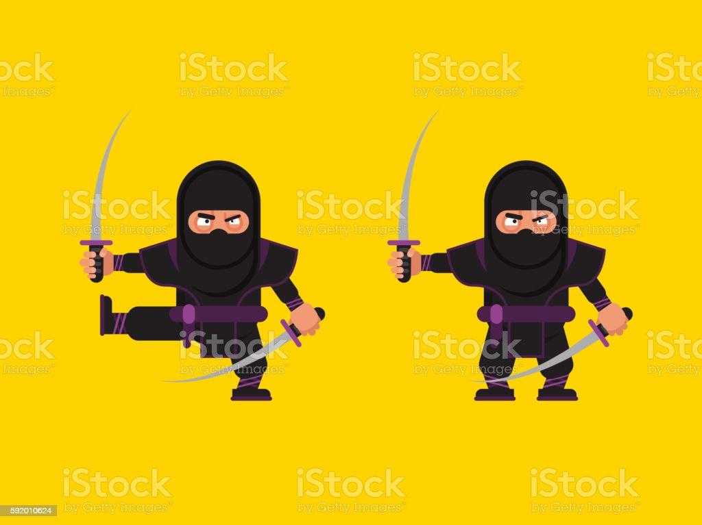 illustration of ninja character in a flat style vector art illustration
