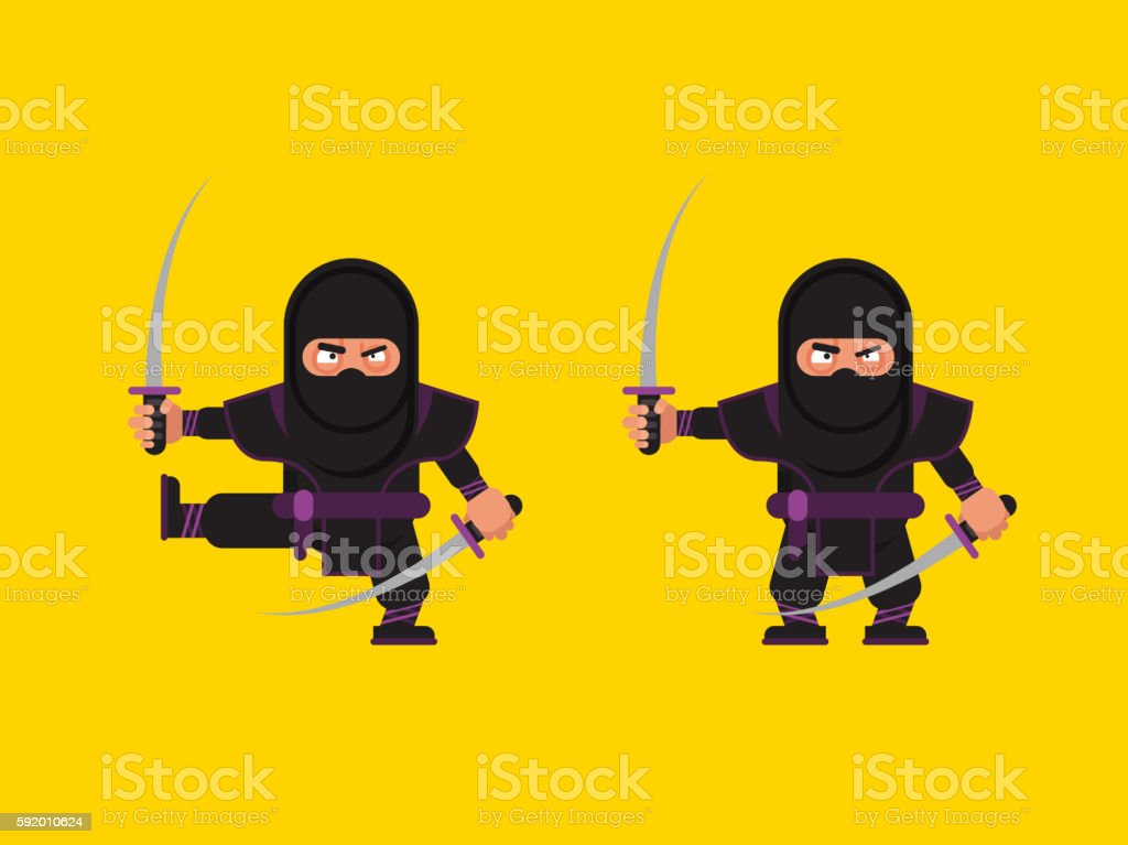 illustration of ninja character in a flat style vector art illustration