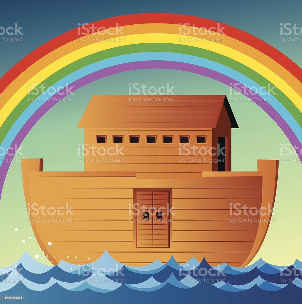 Illustration of Noah's Ark in ocean with rainbow above royalty-free stock vector art