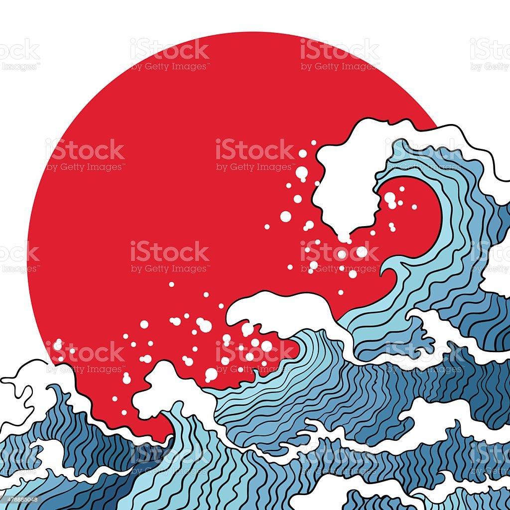 Illustration of ocean waves and sun. vector art illustration