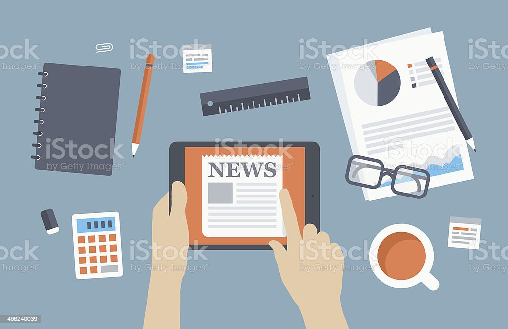 Illustration of office desk with news on tablet vector art illustration