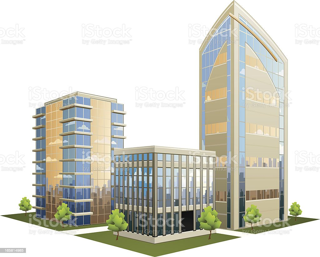 Illustration of office part with skyscrapers vector art illustration