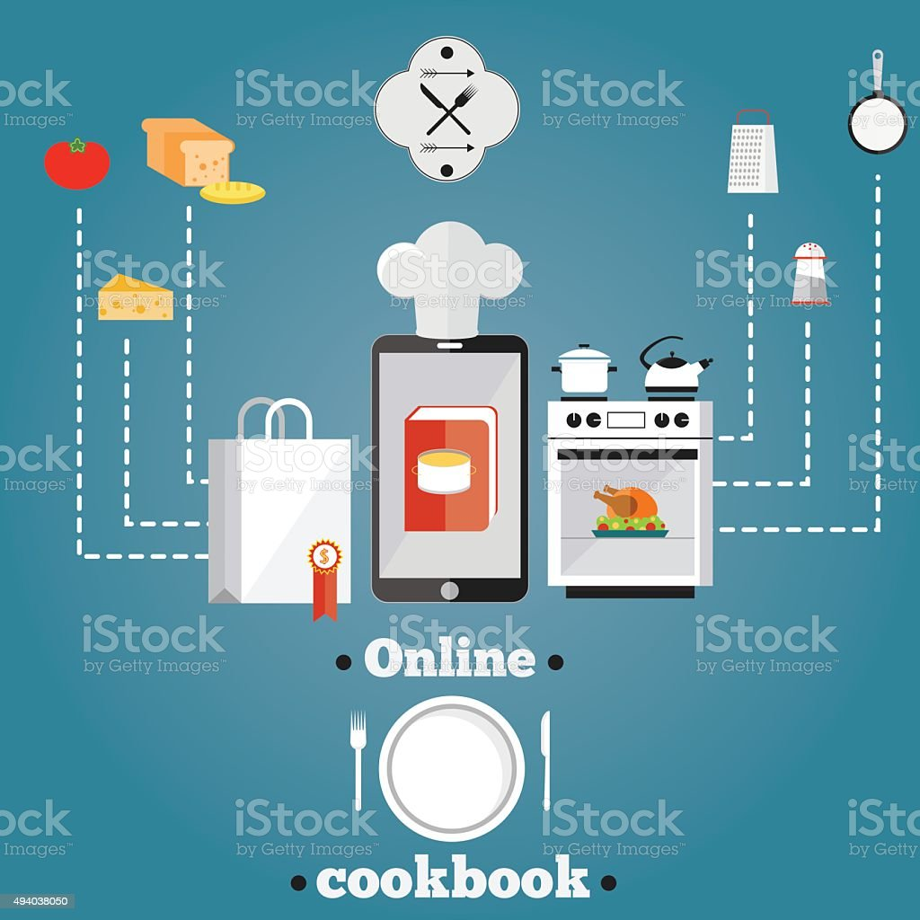 illustration of online cooking. vector art illustration