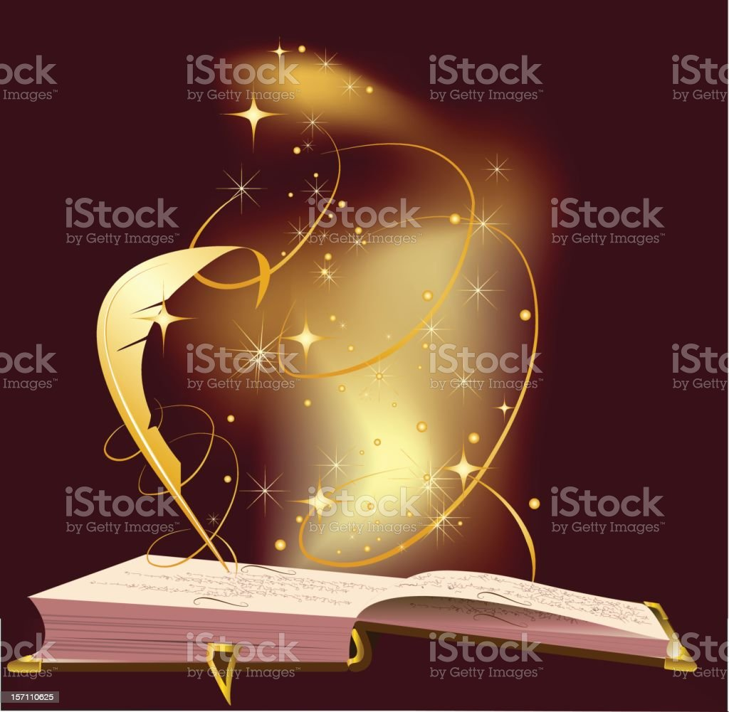 Illustration of open book with magic dust and feather pen royalty-free stock vector art