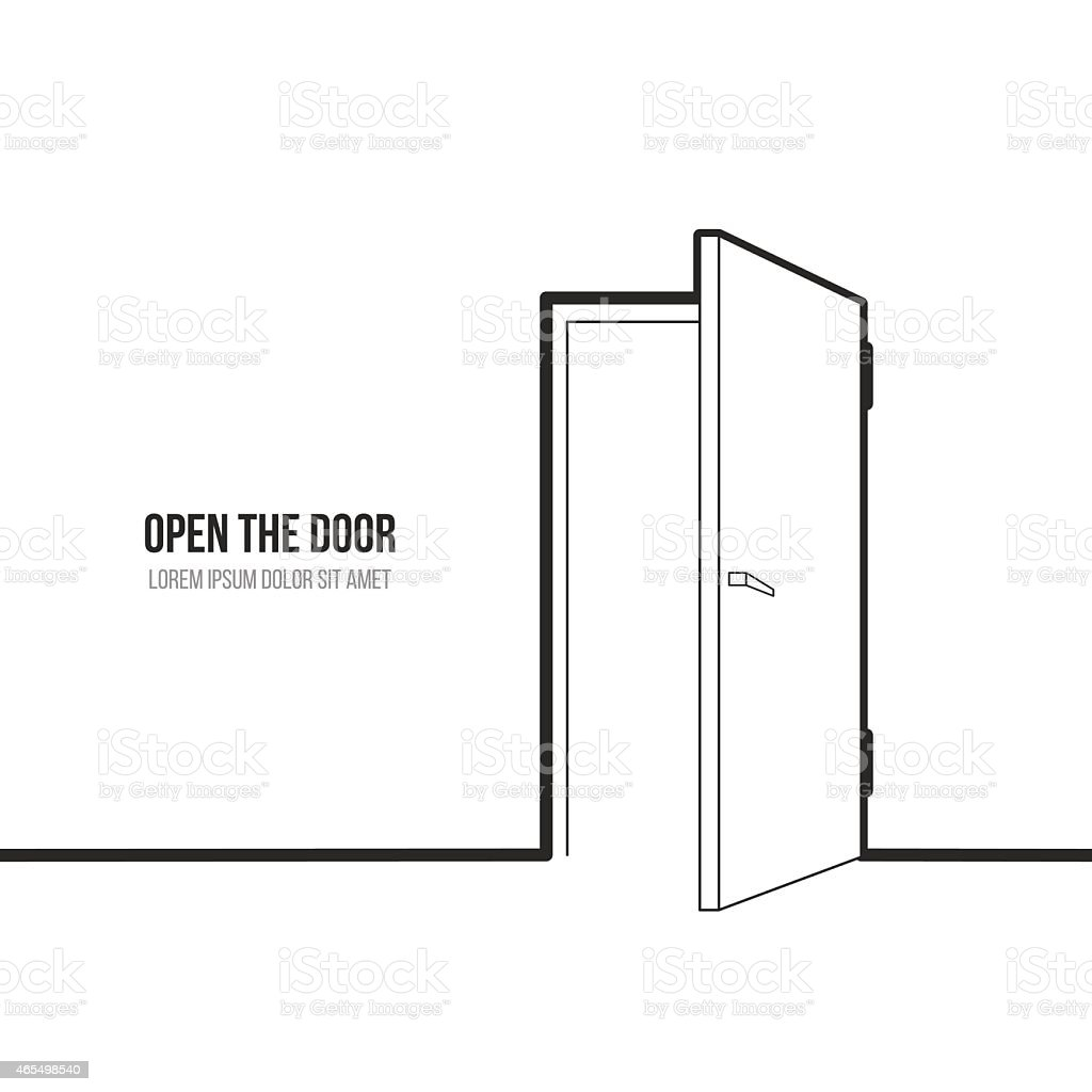 Illustration of open door vector art illustration