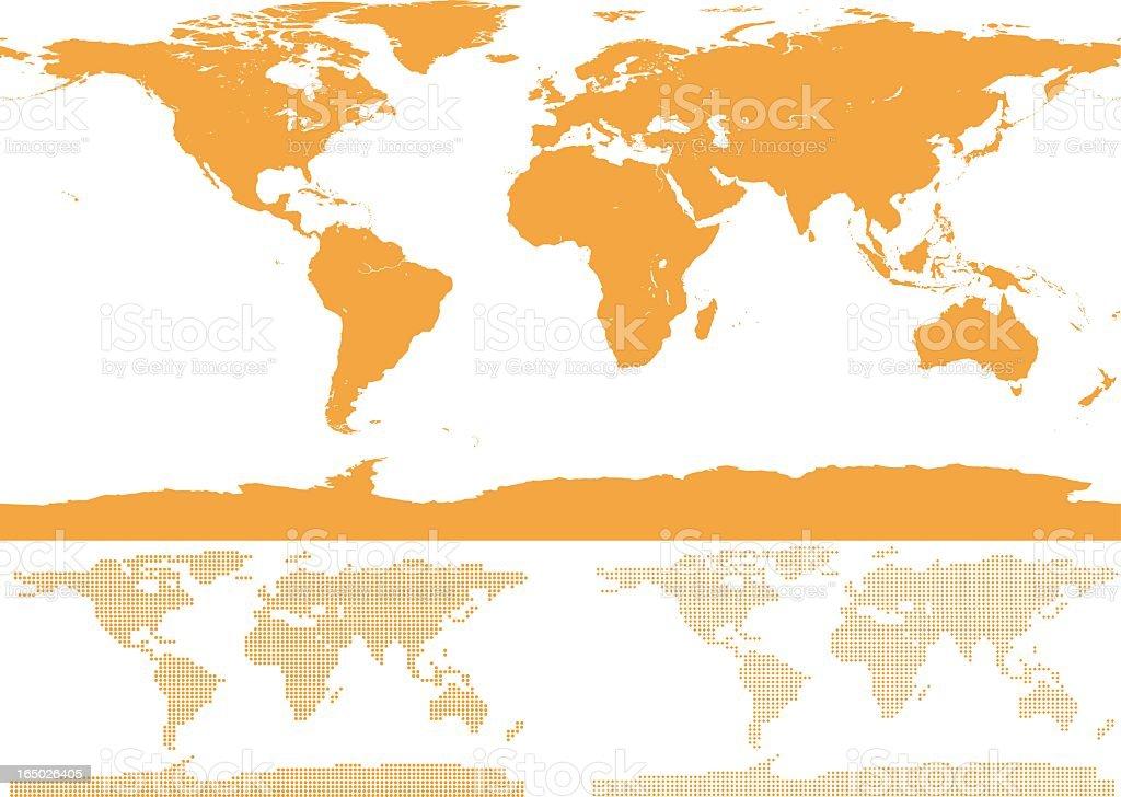Illustration of orange detailed world map on white vector art illustration