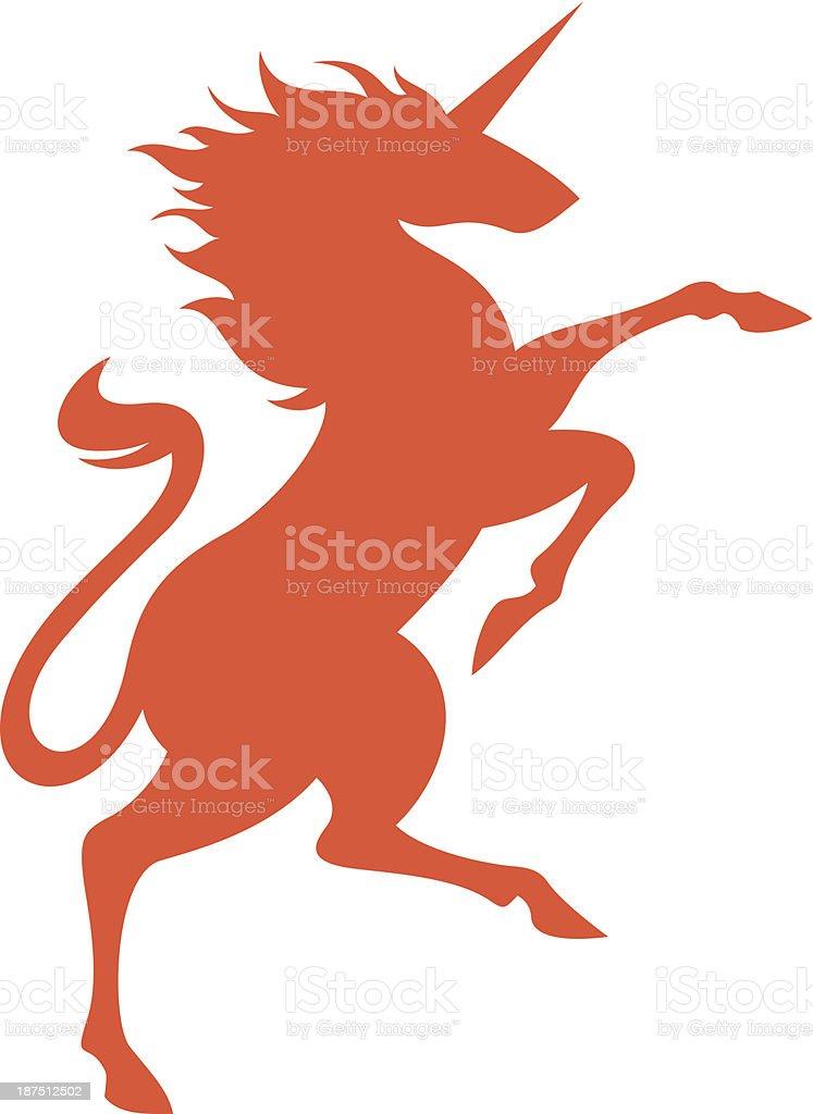 Illustration of orange unicorn on white background vector art illustration