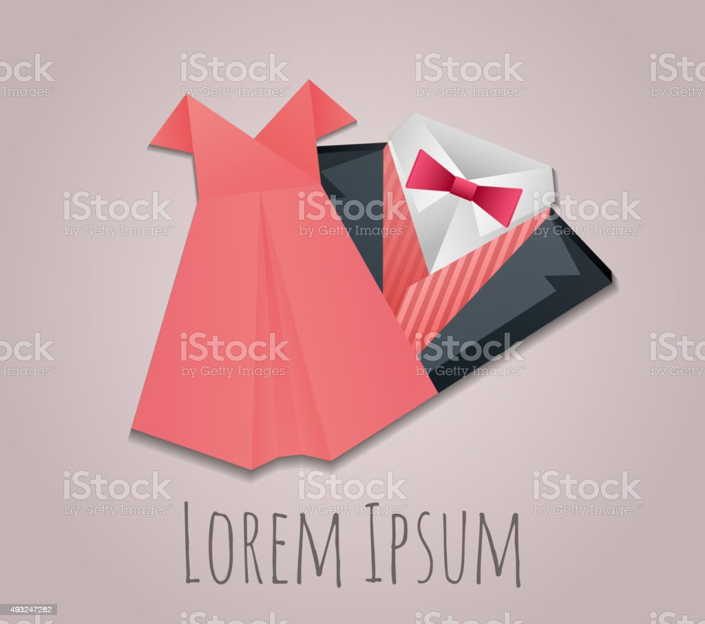Illustration of origami  men's suit and lady dress vector art illustration