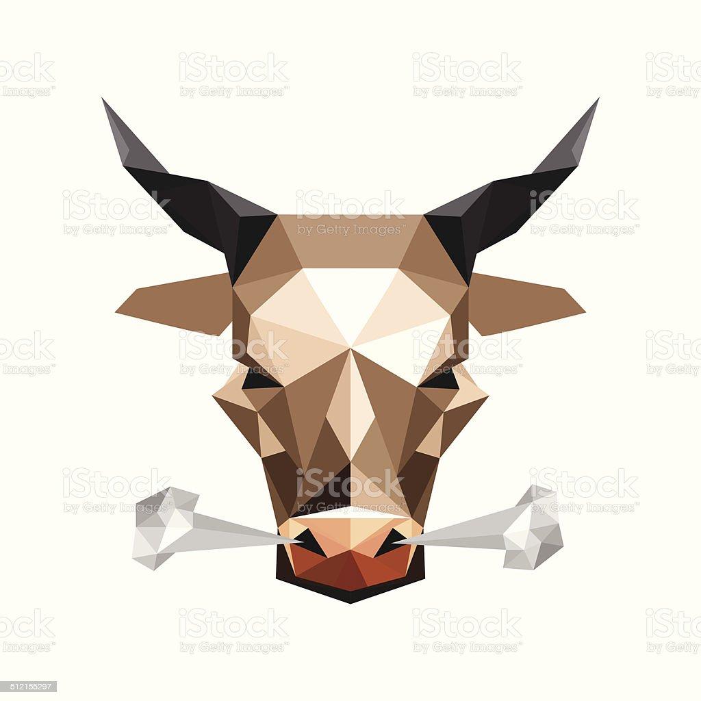 Illustration of origami wild steam bull vector art illustration